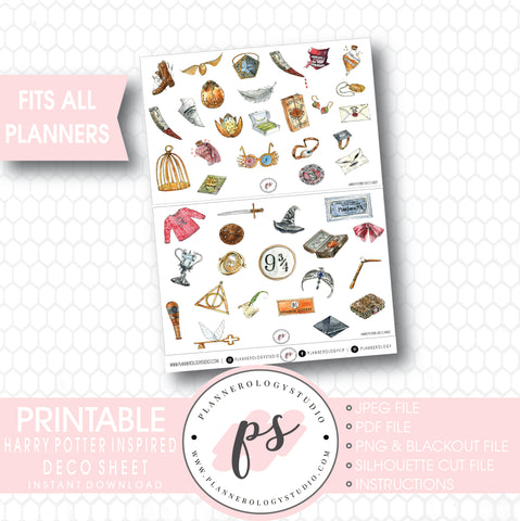 Harry Potter Inspired Clipart Deco Sheet Digital Printable Planner Stickers . - Plannerologystudio