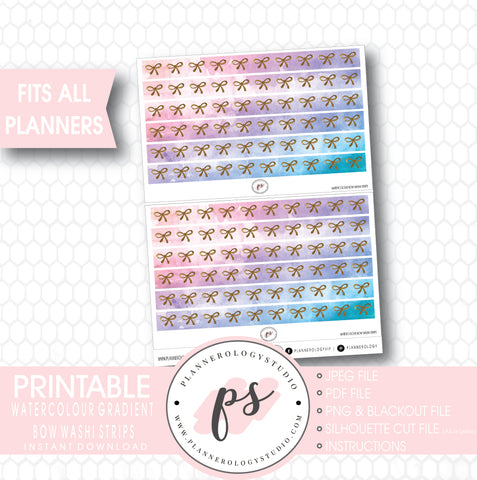 Watercolour Gradient Pattern Bow Icon Washi Strip Digital Printable Planner Stickers - Plannerologystudio