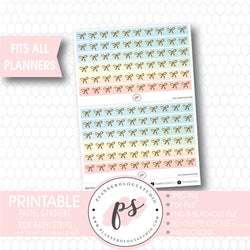 Pastel Gradient Pattern Bow Icon Washi Strip Digital Printable Planner Stickers - Plannerologystudio