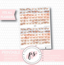 Rose Gold Marble Pattern Bow Icon Washi Strip Digital Printable Planner Stickers - Plannerologystudio