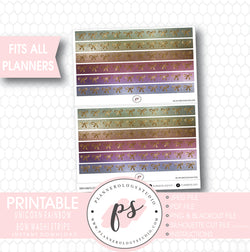 Unicorn Rainbow Glitter Pattern Bow Icon Washi Strip Digital Printable Planner Stickers - Plannerologystudio