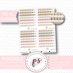 Neutral Brushstroke Gold Foil Texture Cleaning Icons Digital Printable Planner Stickers - Plannerologystudio