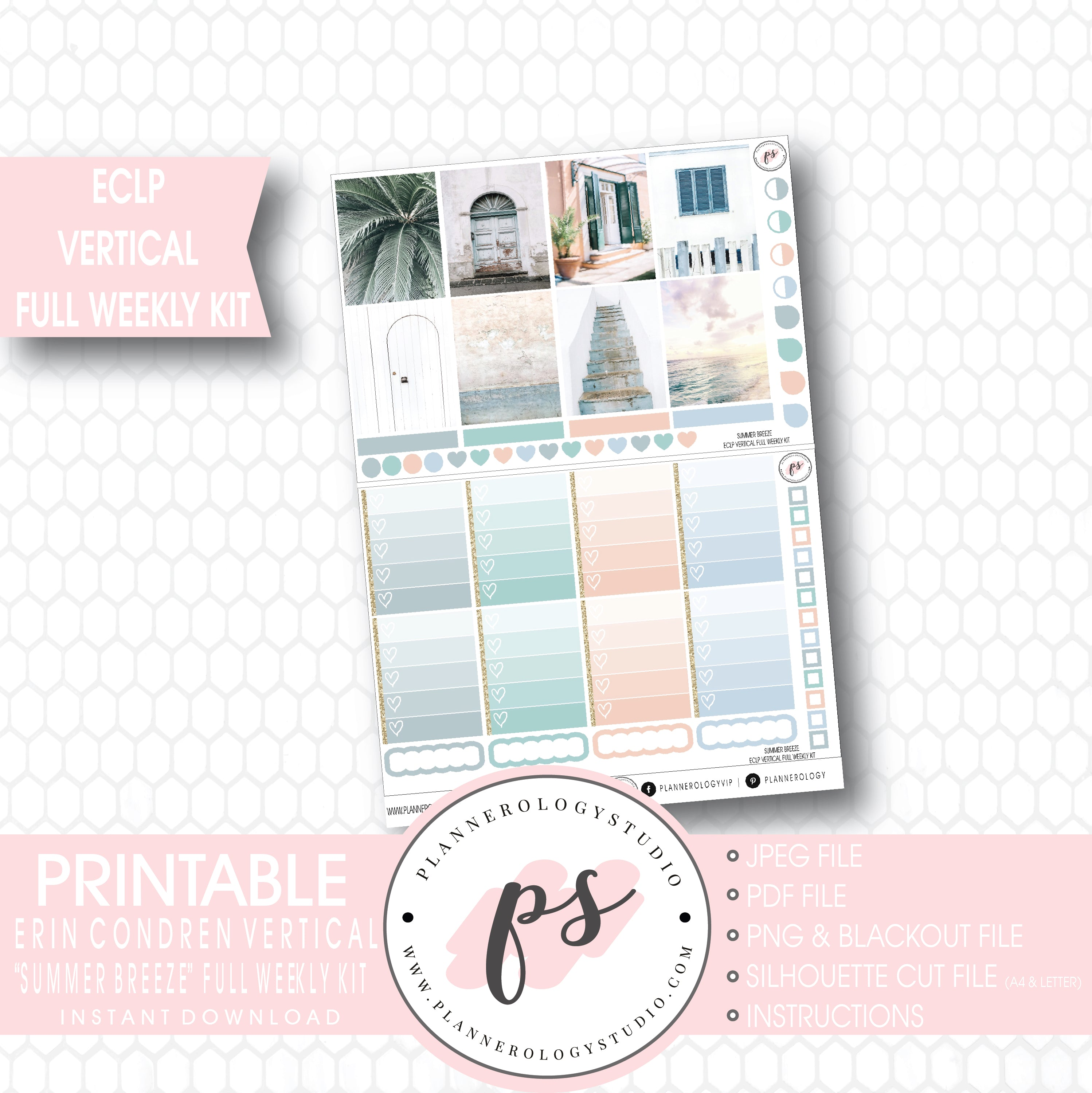 Summer Breeze Stock Photo Full Weekly Kit Printable Planner Stickers For Use With ECLP Vertical
