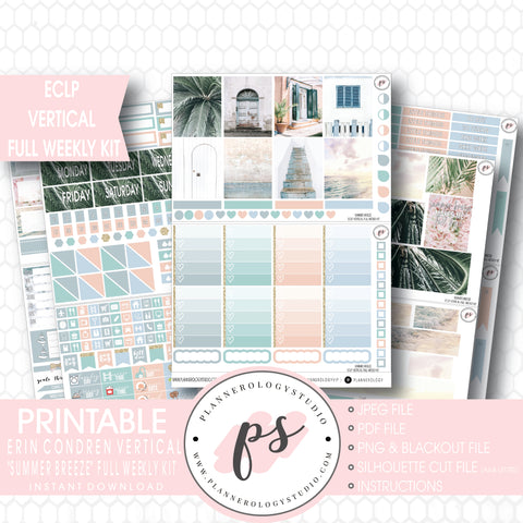 Summer Breeze Stock Photo Full Weekly Kit Printable Planner Stickers (for use with ECLP Vertical) - Plannerologystudio