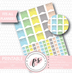 """Joy"" Silver Glitter Specks Flags Printable Planner Stickers - Plannerologystudio"