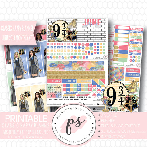 Spellbound (Harry Potter) June 2018 Monthly View Kit Digital Printable Planner Stickers (for use with Classic Happy Planner) - Plannerologystudio