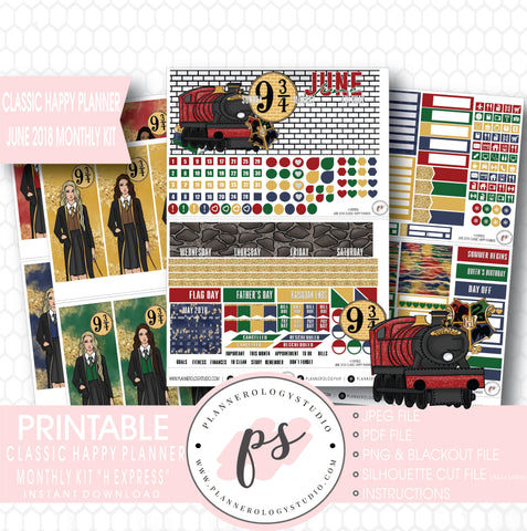H Express (Harry Potter) June 2018 Monthly View Kit Digital Printable Planner Stickers (for use with Classic Happy Planner) - Plannerologystudio