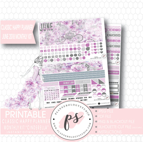 Cinderella June 2018 Monthly View Kit Digital Printable Planner Stickers (for use with Classic Happy Planner) - Plannerologystudio
