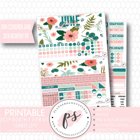Summer Love June 2018 Monthly View Kit Digital Printable Planner Stickers (for use with Erin Condren) - Plannerologystudio