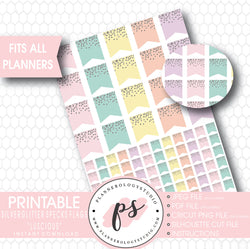 """Luscious"" Silver Glitter Specks Flags Printable Planner Stickers - Plannerologystudio"