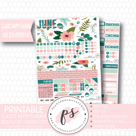 Summer Love June 2018 Monthly View Kit Digital Printable Planner Stickers (for use with Classic Happy Planner) - Plannerologystudio