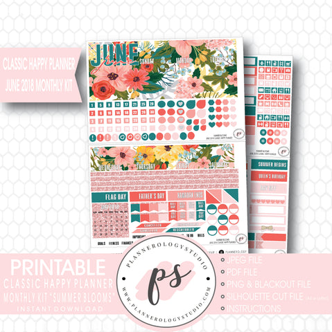 Summer Blooms June 2018 Monthly View Kit Digital Printable Planner Stickers (for use with Classic Happy Planner) - Plannerologystudio