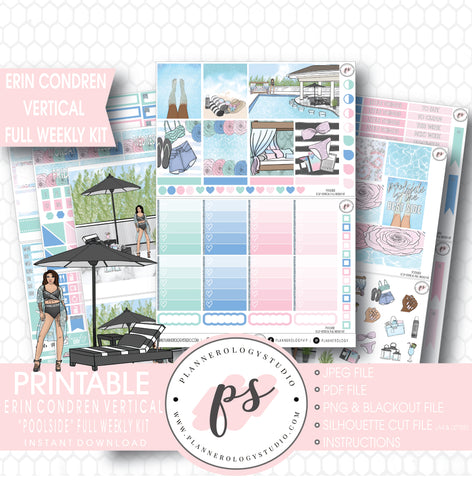 Poolside Full Weekly Kit Printable Planner Stickers (for use with ECLP Vertical) - Plannerologystudio