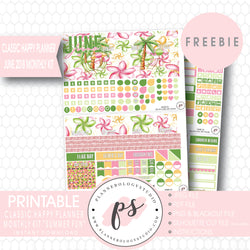 Summer Fun Classic Happy Planner June 2018 Monthly Kit Digital Printable Planner Stickers (PDF/JPG/PNG/Silhouette Cut File Freebie) - Plannerologystudio