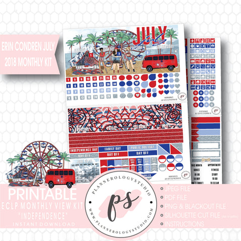 Independence July 2018 Monthly View Kit Digital Printable Planner Stickers (for use with Erin Condren) - Plannerologystudio