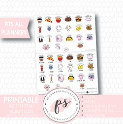 Wacky National Holidays & Celebrations Icons Digital Printable Planner Stickers - Plannerologystudio
