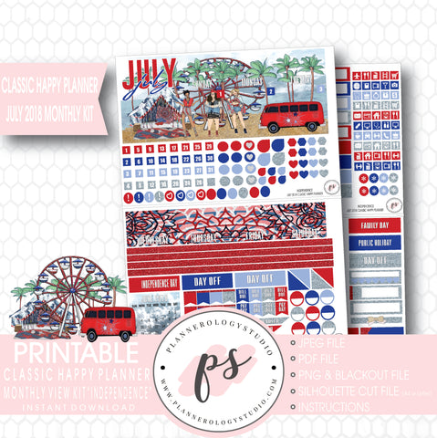 Independence July 2018 Monthly View Kit Digital Printable Planner Stickers (for use with Classic Happy Planner) - Plannerologystudio