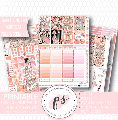 Peaches Full Weekly Kit Printable Planner Stickers (for use with ECLP Vertical) - Plannerologystudio