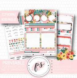 Summer Blooms Monthly Notes Page Kit Digital Printable Planner Stickers (for use with ECLP) - Plannerologystudio