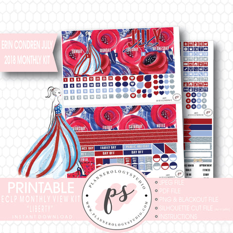 Liberty Independence Day July 2018 Monthly View Kit Digital Printable Planner Stickers (for use with Erin Condren) - Plannerologystudio