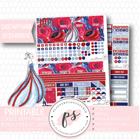 Liberty Independence Day July 2018 Monthly View Kit Digital Printable Planner Stickers (for use with Classic Happy Planner) - Plannerologystudio