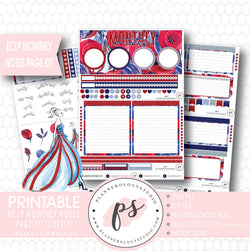Liberty Independence Day Monthly Notes Page Kit Digital Printable Planner Stickers (for use with ECLP) - Plannerologystudio