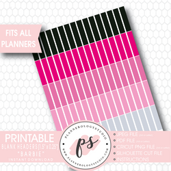 """Barbie"" Blank Header Printable Planner Stickers - Plannerologystudio"
