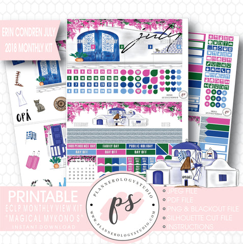 Magical Mykonos July 2018 Monthly View Kit Digital Printable Planner Stickers (for use with Erin Condren) - Plannerologystudio