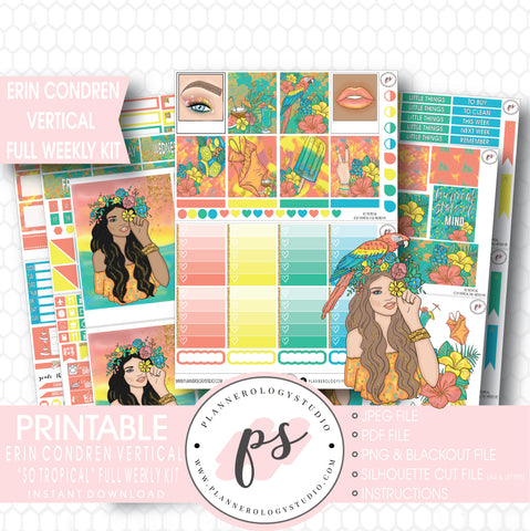 So Tropical Full Weekly Kit Printable Planner Stickers (for use with ECLP Vertical) - Plannerologystudio