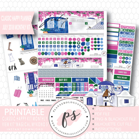 Magical Mykonos July 2018 Monthly View Kit Digital Printable Planner Stickers (for use with Classic Happy Planner) - Plannerologystudio