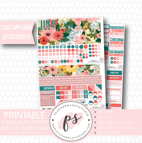 Summer Blooms July 2018 Monthly View Kit Digital Printable Planner Stickers (for use with Classic Happy Planner) - Plannerologystudio
