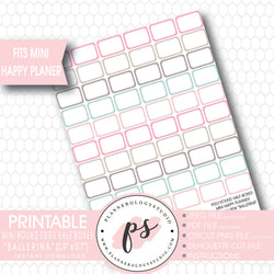 """Ballerina"" Mini Round Edge Half Boxes Printable Planner Stickers (for Mini Happy Planner Monthly View) - Plannerologystudio"