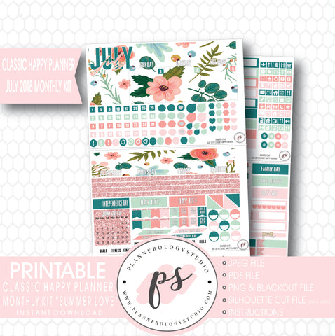 Summer Love July 2018 Monthly View Kit Digital Printable Planner Stickers (for use with Classic Happy Planner) - Plannerologystudio