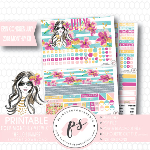 Hello Summer July 2018 Monthly View Kit Digital Printable Planner Stickers (for use with Erin Condren) - Plannerologystudio