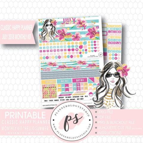 Hello Summer July 2018 Monthly View Kit Digital Printable Planner Stickers (for use with Classic Happy Planner) - Plannerologystudio