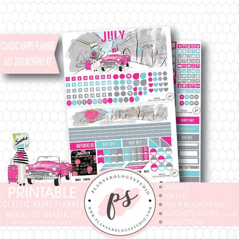 Wanderlust July 2018 Monthly View Kit Digital Printable Planner Stickers (for use with Classic Happy Planner) - Plannerologystudio
