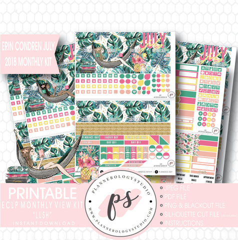 Lush Summer July 2018 Monthly View Kit Digital Printable Planner Stickers (for use with Erin Condren) - Plannerologystudio