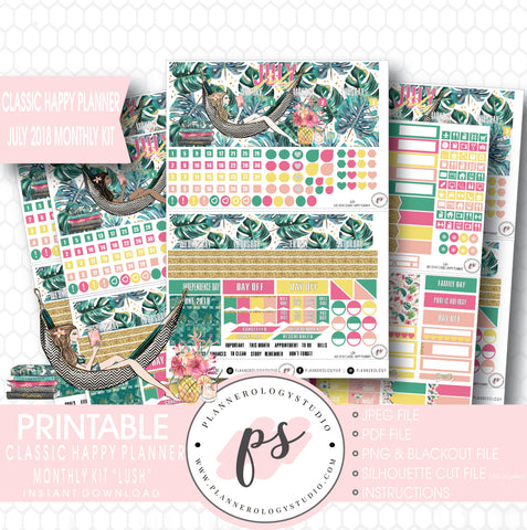 Lush Summer July 2018 Monthly View Kit Digital Printable Planner Stickers (for use with Classic Happy Planner) - Plannerologystudio