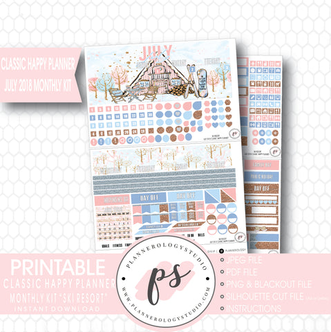 Ski Resort (Winter) July 2018 Monthly View Kit Digital Printable Planner Stickers (for use with Classic Happy Planner) - Plannerologystudio