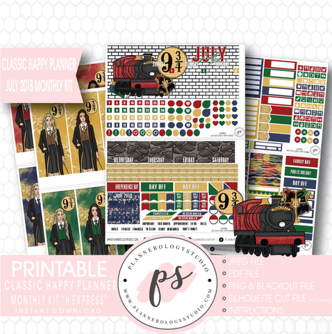 H Express (Harry Potter) July 2018 Monthly View Kit Digital Printable Planner Stickers (for use with Classic Happy Planner) - Plannerologystudio