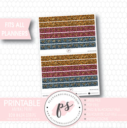 Animal Print Pattern Bow Icon Washi Strip Digital Printable Planner Stickers - Plannerologystudio