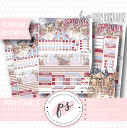 Once Upon a Dream September 2018 Monthly View Kit Digital Printable Planner Stickers (for use with Erin Condren) - Plannerologystudio