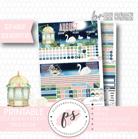 Swan Moon August 2018 Monthly View Kit Digital Printable Planner Stickers (for use with Erin Condren) - Plannerologystudio