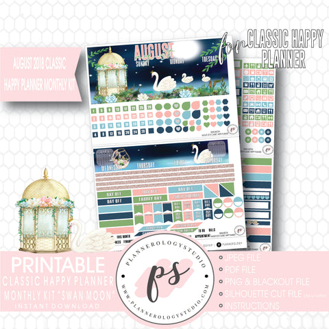 Swan Moon August 2018 Monthly View Kit Digital Printable Planner Stickers (for use with Classic Happy Planner) - Plannerologystudio