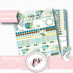"""Mint"" August 2017 Monthly View Kit Printable Planner Stickers (for use with ECLP) - Plannerologystudio"