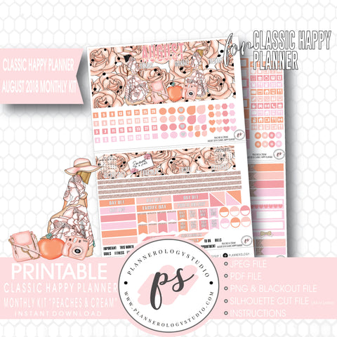 Peaches & Cream August 2018 Monthly View Kit Digital Printable Planner Stickers (for use with Classic Happy Planner) - Plannerologystudio