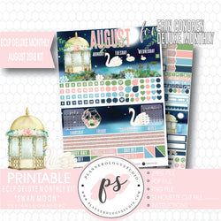 Swan Moon August 2018 Monthly View Kit Digital Printable Planner Stickers (for use with Erin Condren Deluxe Monthly Planner) - Plannerologystudio