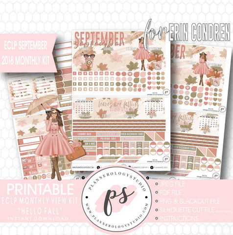 Hello Fall September 2018 Monthly View Kit Digital Printable Planner Stickers (for use with Erin Condren) - Plannerologystudio