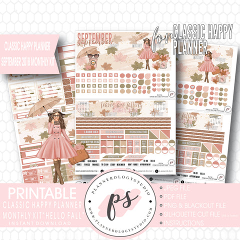 Hello Fall September 2018 Monthly View Kit Digital Printable Planner Stickers (for use with Classic Happy Planner) - Plannerologystudio