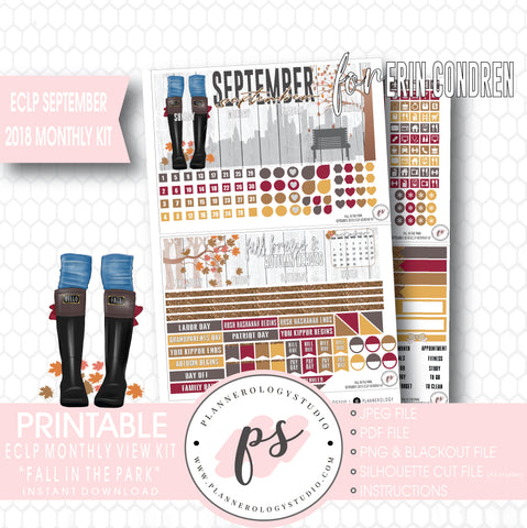 Fall in the Park September 2018 Monthly View Kit Digital Printable Planner Stickers (for use with Erin Condren) - Plannerologystudio